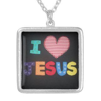 To glue - I Love JESUS Square Pendant Necklace