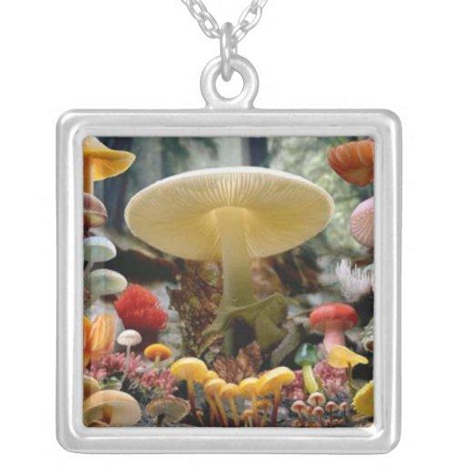 to glue mushrooms square pendant necklace