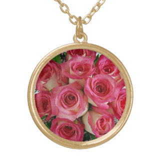 To glue Roses Round Pendant Necklace