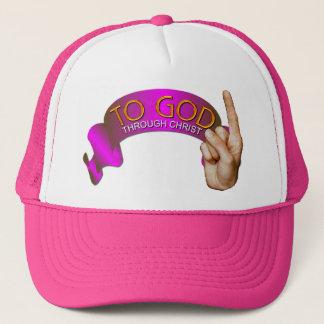 To God . Through Christ. Trucker Hat