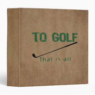 To Golf Binder