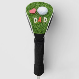 To Golf Father Dad with love red heart shape Golf Head Cover