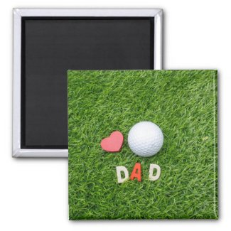 To Golf Father with love Dad golf ball & red heart Magnet