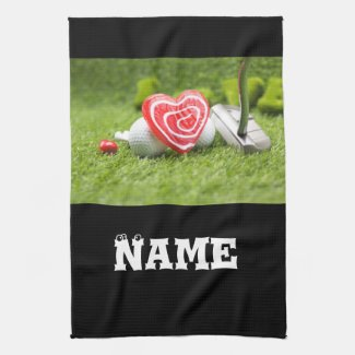 To golfer with love and golf ball  and putter kitchen towel