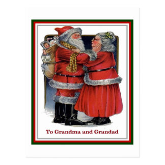 To Grandma and Grandad Mr and Mrs Claus Christmas Post Card
