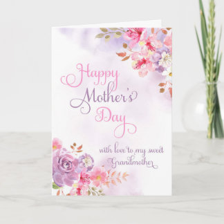 To Grandmother, Happy Mother's Day watercolor Card