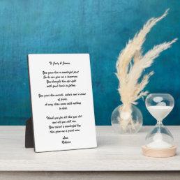 """""""To Groom's Parents"""" Poem Plaque"""