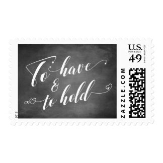 To Have & to Hold Script w/ Hearts over Chalkboard Postage