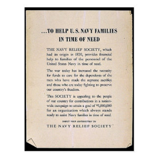 To Help U.S. Navy Families In Time Of Need Postcard