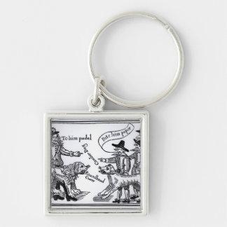 To Him Pudel, Bite Him Peper' Silver-Colored Square Keychain