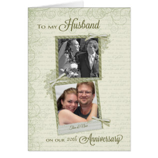 To Husband On __th Anniversary - Custom Then & Now Card at Zazzle