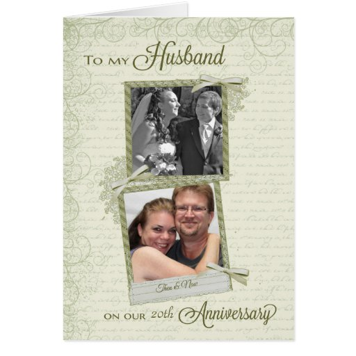 To Husband on __th Anniversary - Custom Then & Now Cards