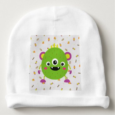 Halloween Themed To little green to monster baby beanie