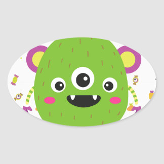 To little green to monster oval sticker