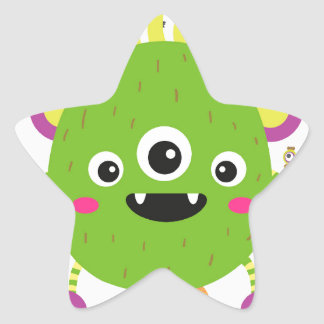 To little green to monster star sticker