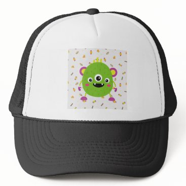 Halloween Themed To little green to monster trucker hat