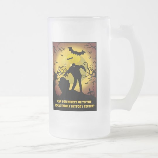 To Local Family History Center Frosted Glass Beer Mug