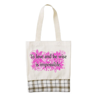 To love and be wise is impossible zazzle HEART tote bag