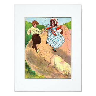 To market, to market, to buy a fat pig. 4.25x5.5 paper invitation card