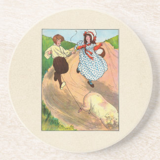 To market, to market, to buy a fat pig. sandstone coaster