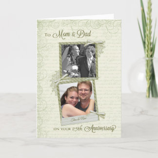 To Mom & Dad on __th Anniversary-Custom Then & Now Card