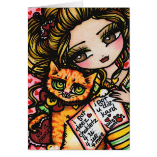 To Mom From Cat Cute Comic Art by Hannah Lynn Greeting Cards