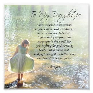 """""""To My Daughter"""" Little Girl in Water Poem Print"""