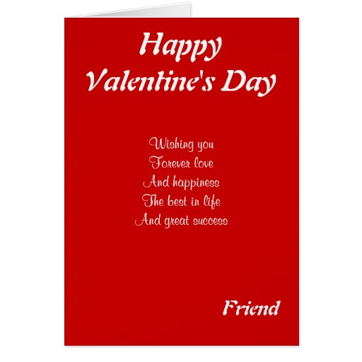 To my friend on valentine's day greeting card