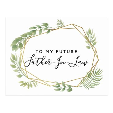 Lawyer Themed To my future father-in- law postcard greenery leaf