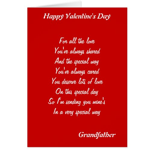 To my  grandfather on valentine's day greeting card
