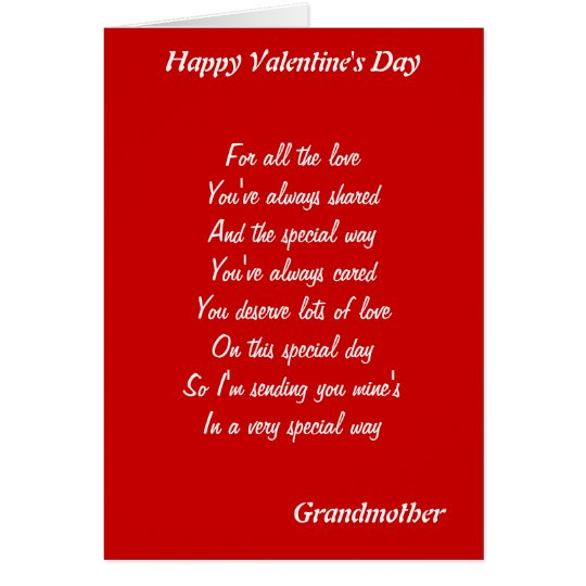 To my  grandmother on valentine's day card
