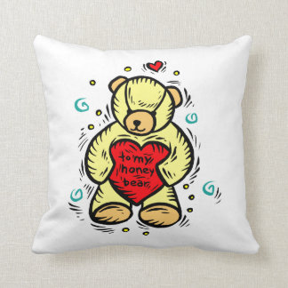 to my honey bear holding red love heart pillow