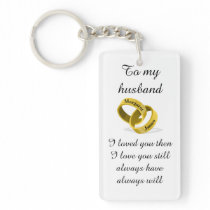 To my husband - engraved names - Poem   I love you Keychain