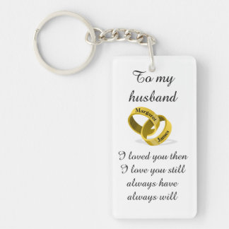 To my husband - engraved names - Poem + I love you Keychain