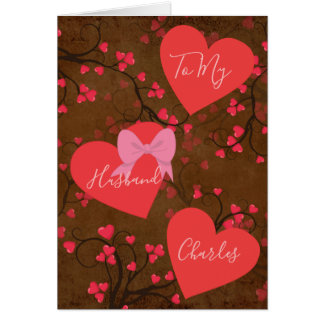 To My Husband on Valentines Day Hearts Card
