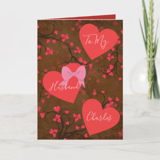 To My Husband on Valentines Day Hearts Holiday Card