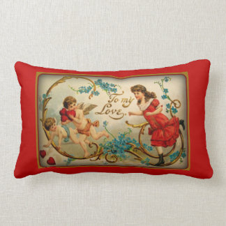 To My Love Vintage Valentine's Day Cupid Angels Pillow