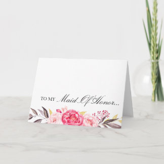 To My Maid of Honor, Thank You, Wedding Party Thank You Card