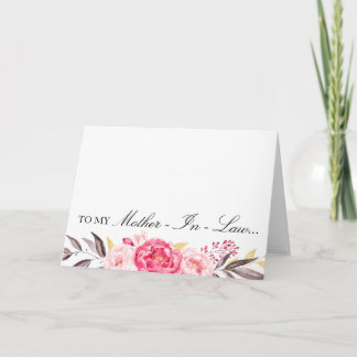 To My Mother-In-Law, Thank You, Wedding Party Thank You Card