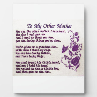 To My Other Mother; Thank You Photo Plaques