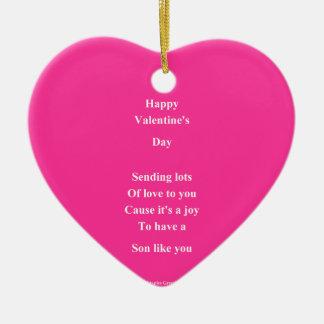 To my son Valentine's Day Ceramic Ornament