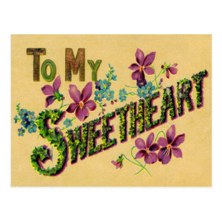 To My Sweetheart Vintage Greeting Post Card