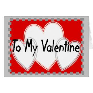 To My Valentine 3 white hearts Card