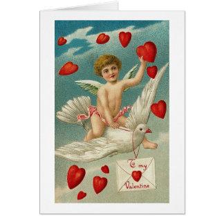 To My Valentine Cherub and Bird with Hearts Card