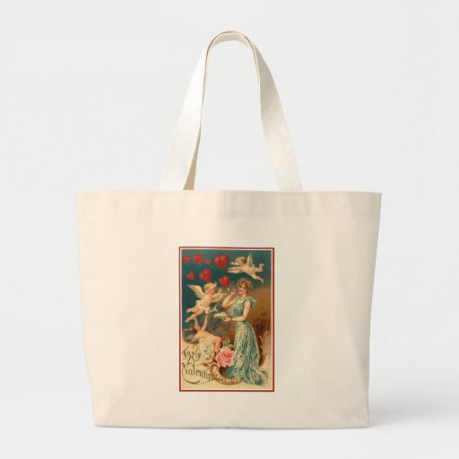 To My Valentine Woman with Cherubs and Hearts Tote Bag