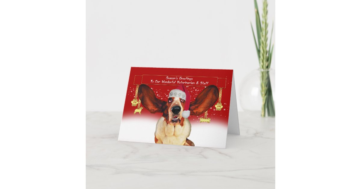 to my vet christmas holiday card with basset hound | Zazzle.com