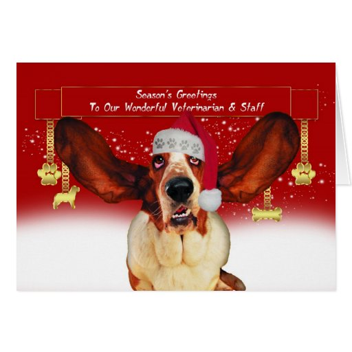 to my vet christmas holiday card with basset hound