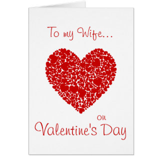 To my Wife on Valentine's Day-Red Hearts Romantic Card