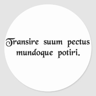 To overcome one's human limitations and become.... classic round sticker