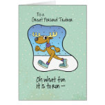To Personal Trainer Running Exercise Reindeer Chri Greeting Card
